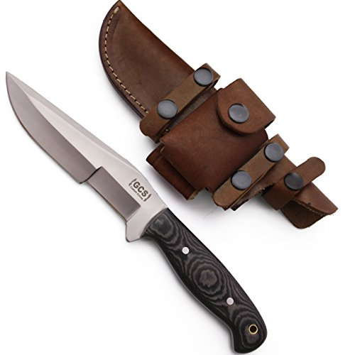 GCS Custom Handmade Black & White Micarta Handle D2 Tool Steel KUKRI TRACKER Knife & Buffalo Hide Sheath 193 (Custom Black Handle)