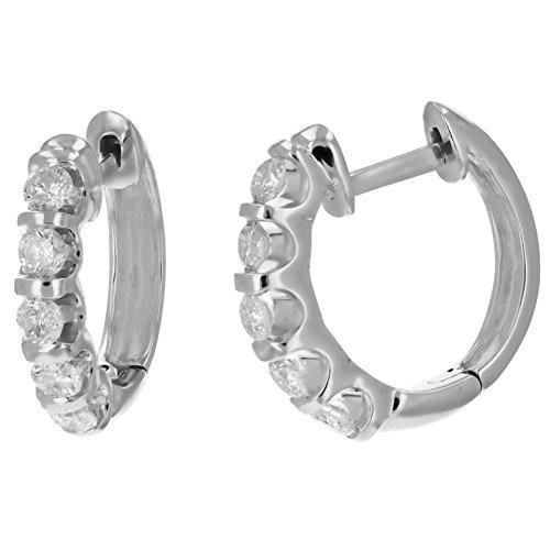 1 CT Diamond Hoop Earrings 14k White or Yellow Gold