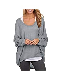 OYTRO Women Casual Solid O Neck Pullover Oversize Shirts Batwing Sleeve Top Tops & Tees