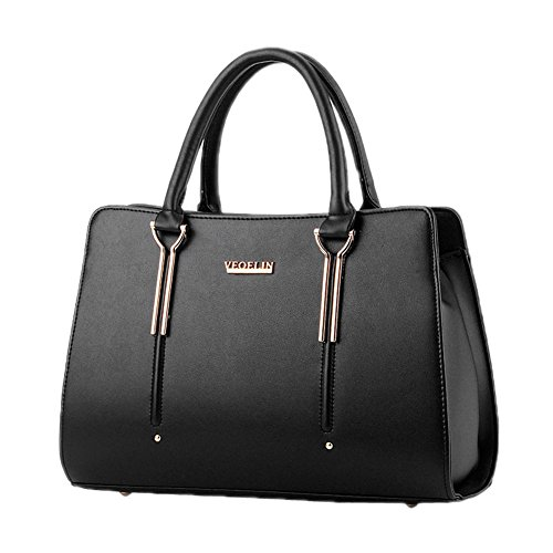 Structured Ladies Womens Bag Shoulder Totes Handbag Office Black Purse DELEY 5fxIwBdqB
