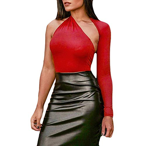 (YEZIJIN Women Sexy Long Sleeve Solid Single Shoulder Tight T-Shirt Blouse Tops 2019 Under 10 Dollars Red)