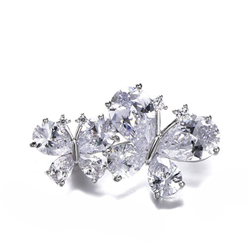 Delightful Brooch (Butterfly Brooch Pins for Women,Dazzling Rhinestone Brooch for Brides Vintage Crystal Brooch Girls CZ Brooch for Wedding,Party (Silver Plated Butterfly))
