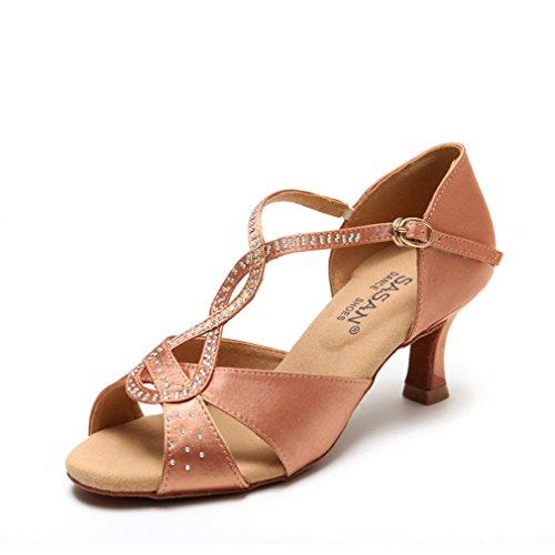 Samba Sandalias Jazz Mujeres Alto Zapatos Zapatos Latino Cuero de Modern de Tacón de Adultas Zapatos Caliente Inferior de de Baile Latino de BYLE Suave Tobillo Baile Taladro 36 Baile YqCwwX
