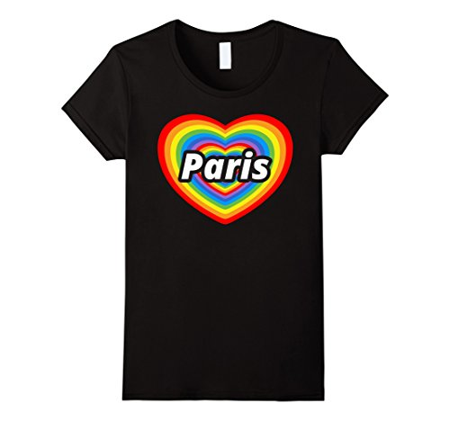 Womens I Love Paris T-Shirt, I Heart Paris, Je t'aime Paris T-shirt XL Black