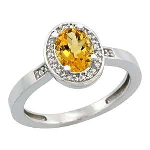 Revoni, anillo de plata de ley con Citrina y diamantes, Piedra óvalo (7x5 mm)