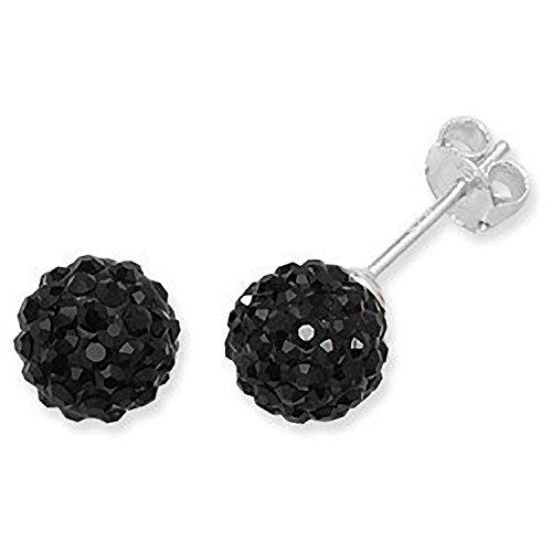 6MM BLACK Disco Ball Shamballa Style Sterling Silver Stud Earrings - Austrian Crystal - Silver Earrings Sterling Crystal Austrian