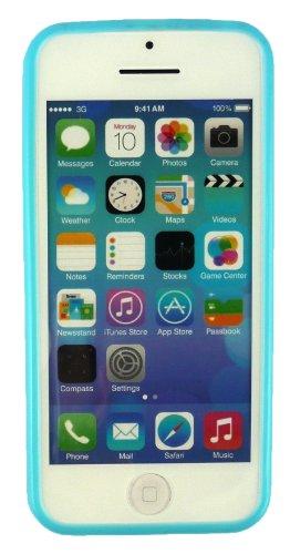 Emartbuy® Sparkling Pack Stylet Pour Apple Iphone 5c Bleu Étincelant Mini Stylet + Protecteur D'Écran Lcd + Bleu / Blanc Polka Dots Gel De Couverture / Étui / Housse De Peau / Cas