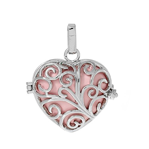 (Souarts Silver Tone Color Hollow Copper Ball Cage Pendant with Pink Heart Bola Beads)