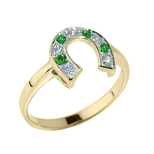 Fine 14k Yellow Gold Green and White CZ Lucky Horseshoe Ring (Size (14k White Gold Horseshoes)