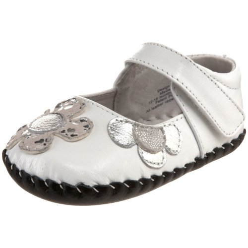 pediped Originals Abigail Mary Jane (Infant),White/Silver,Extra Small (0-6 Months)