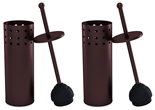 Home Intuition Bronze Vented Toilet Plunger and Canister Holder Drip Cup, 2 Pack by Home Intuition