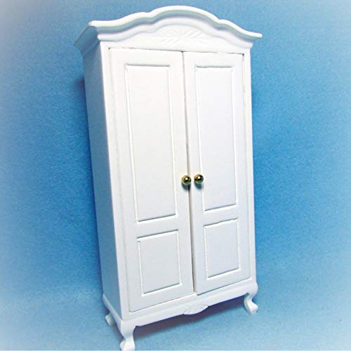 Dollhouse Armoire/Cabinet / Wardrobe in White KL2433 - Miniature Scene Supplies Your Fairy Garden - Doll House - Outdoor House Decor ()
