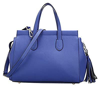 Heshe New Genuine Leather Office Lady Simple Style Tassels Fashion Tote Top Handle Shoulder Crossbody Bag Satchel Purse Handbag for Women