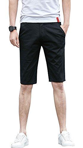 (Plaid&Plain Men's Flat Front Skinny Shorts Men's Chino Shorts 7507Black 27)