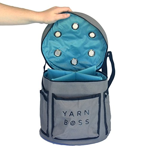 Yarn Boss Modern Yarn Storage Bag – Use as a Knitting Bag or Crocheting Bag – Tool and Yarn Organizer – Gray Canvas with Grommets – Light Weight Mobil…