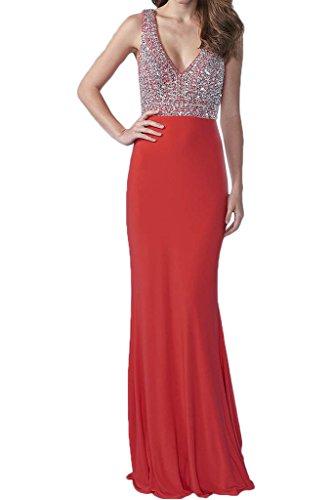 ivyd ressing Mujer Elegante V de recorte piedras Ball vestido largo Party Prom vestido fijo para vestido de noche Rojo