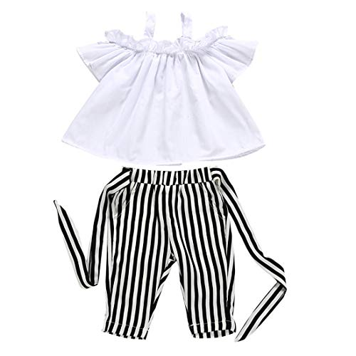 Toddler Little Girls Halte Outfits White Off Shoulder Ruffle Top Shirts+Striped Bow Belt Pants Summer Clothes Set (Striped, 4-5 Years)