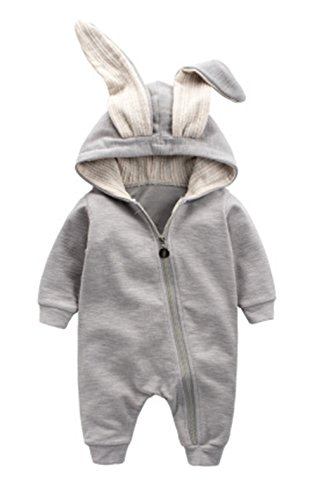 Winter Warm Baby Boys Girls Rabbit 3D Ear Zipper Hooded Romper Jumpsuit Outfits size 3-6Months/66 (Grey)