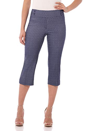 (Rekucci Women's Ease in to Comfort Fit Capri with Button Detail (10,Blue Denim Dots))