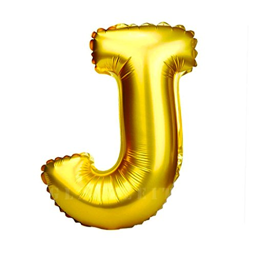 Glanzzeit 32 Inch Gold Foil Balloons Letter A to Z Number 0 to 9 Party Wedding Birthday Decoration (Letter J) -
