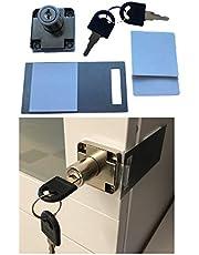 Zelfklevend opzetslot incl. slotplaat + reservepads + twee sleutels – kleefslot op kasten, meubels op kantoor, keuken – geen boren of schroeven – montage in enkele seconden.