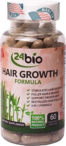 24bio Hair Growth Supplement Stimulates Growth & Supports Thicker Hair, Anti Hair Loss Treatment,Multivitamin Complex Pills, Biotin 1000mcg, Bamboo Extract Enhancer,Thiamine, Amla Extract, 60 Veg Cap