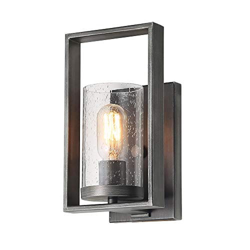 LALUZ Seeded Glass Vanity Lights, Industrial Silver Brushed Wall Sconce, 1 Light Bathroom Vanity Light