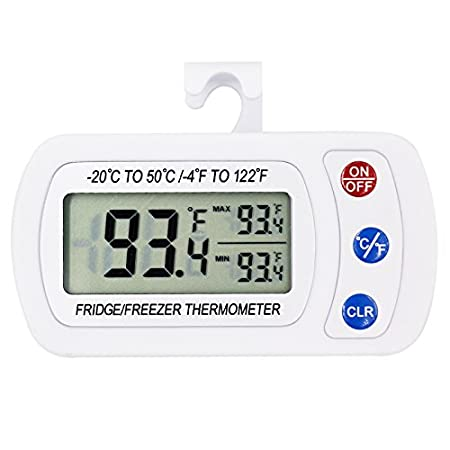 Outdoor Upgraded 2-Pack Digital Refrigerator Thermometer Large LCD Easy to Read Display /& Max//Min Record Function for Indoor IPX3 Waterproof Wireless Freezer Room Temperature Monitor with Hook