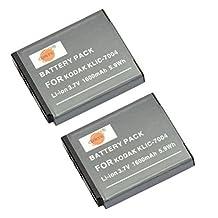 DSTE® 2x KLIC-7004 Replacement Li-ion Battery for Kodak EasyShare M2008 V1273 V1233 V1253 Zi8 Zi12 PlayFull Dual PlaySport PlayTouch Pentax Q7 Q10 Q-S1 Camera as NP-50 D-li68