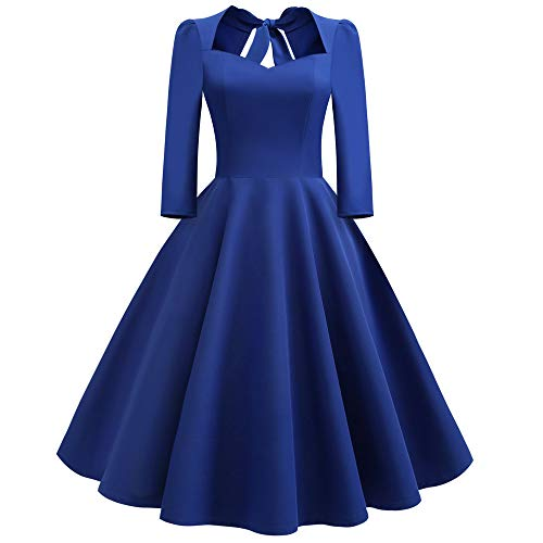 Rakkiss Fashion Women Solid V-Neck Back Hollow Out Bow Draped Holiday Vintage Dress