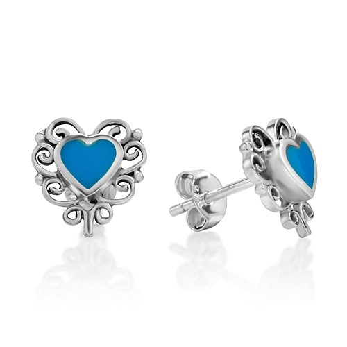 (925 Sterling Silver Bali Inspired Blue Stone Filigree Heart 11 mm Post Stud Earrings)