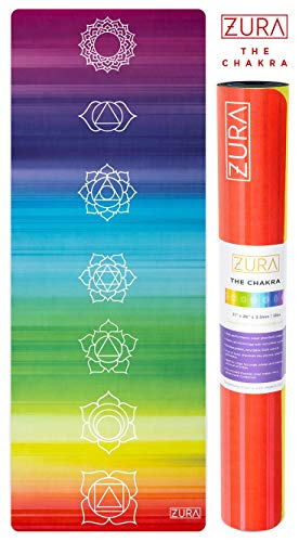 ZURA (Chakra Mat - Eco-Friendly Combo Yoga Mat + Towel, Nonslip Grip with Chakra Printed Microfiber Towel Top - Extra Long - 3.5mm Thick, Soft - 100% Natural Rubber & Non-Toxic, Machine Washable ()