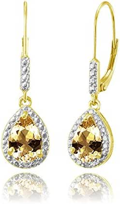 Sterling Silver Genuine, Created or Simulated Gemstone Teardrop Dangle Leverback Earrings