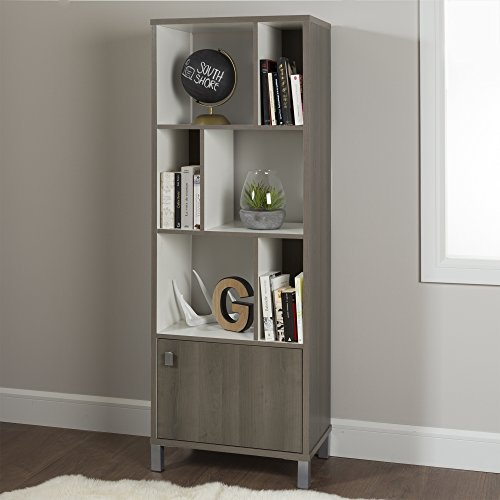 South Shore Expoz 6-Cube Shelving Unit with Door, Gray Maple and Pure White (Wood Shelving Units With Doors)