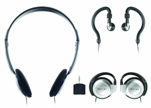 Sentry 784CD Headphones with Splitter Plug, Pack of 3 Styles (Sentry Earphones Headphones)