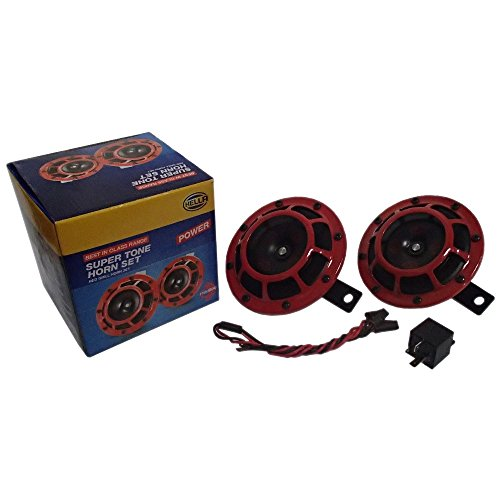 (Super Tone Red Hella Horns Round Pair Compact Universal 139DB Loud Blast Set)