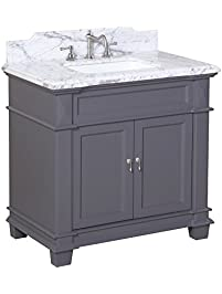 Kitchen Bath Collection Kbc5936gycarr Elizabeth Bathroom Vanity With Marble Countertop Cabinet With Soft Close Function