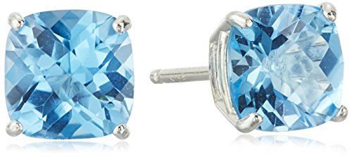 (Sterling Silver Cushion-Cut Checkerboard Swiss Blue Topaz Stud Earrings (6mm))