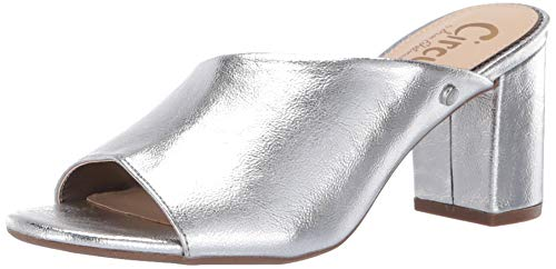 Circus by Sam Edelman Women's Suzanna Heeled Sandal, Soft Silver Metallic Crackle, 8 M US