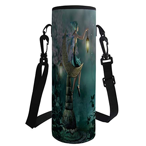 Water Bottle Sleeve Neoprene Bottle Cover,Fantasy,Little Pixie with Lantern Sitting on Moon Stone Fairytale Myth Kitsch Artwork,Gold Teal Lilac,Fit for Most of Water Bottles by iPrint