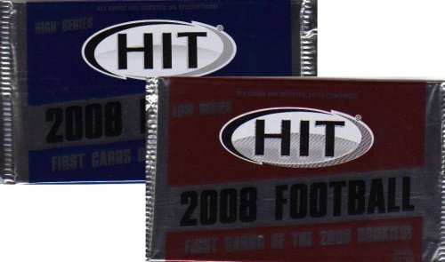 2 Pack Lot : 2008 Sage Hit Football (Low & High Series) Factory Sealed Hobby Packs (6 Autographs Per Box) (No Redemptions) - Football Sports Trading Cards (2 Pack Lot - 5 Cards/Pack)