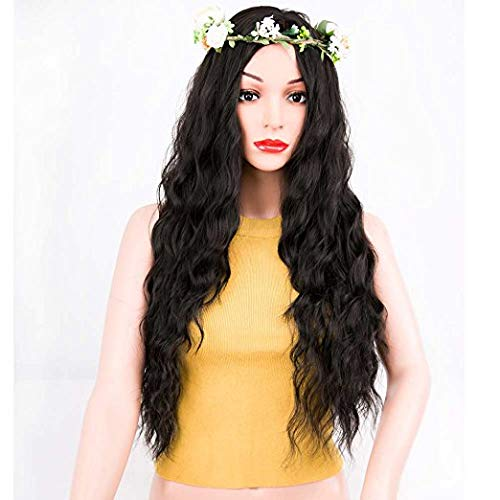 ForQueens Black Wavy Wig Synthetic Natural Long Curly Wigs Loose Body Wave Wigs Heat Resistant Fiber Full Wigs for Women
