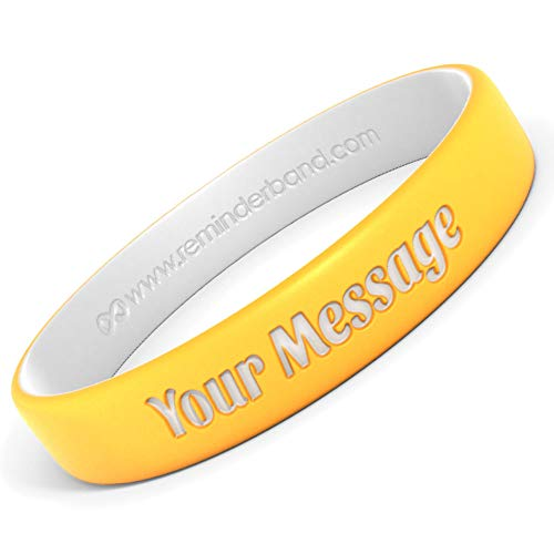Reminderband 50 Custom Luxe Silicone Wristbands (Electric Yellow, -