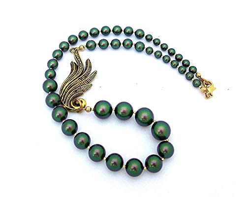 (Swarovski Pearl Beaded Necklace with Antique Gold Wing Pendant and Scarabaeus Green Beads, Asymmetrical Design, Statement Jewelry, Necklaces for Women)