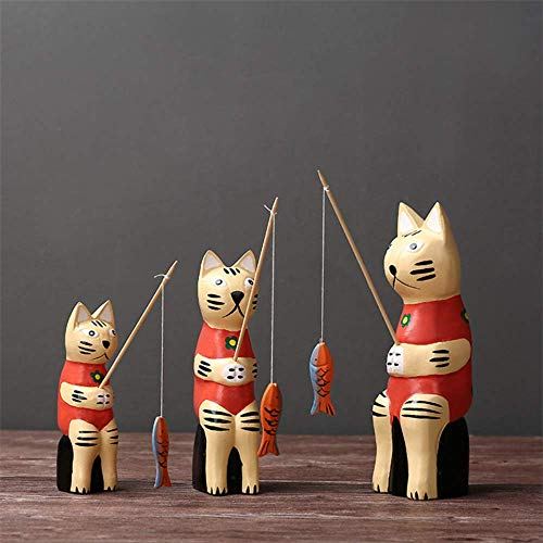 Sculpture Home Deco Creative Cute Family 3 Cats Fishing Home covid 19 (Cat Fishing Sculpture coronavirus)