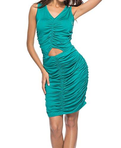 Smalltile t Femme Court Robe Fashion Chic Plier Bodycon Robes de Bo?te de Nuit Sexy Col V sans Manches Robe de Fte Soire Vert