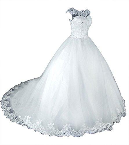 die Spitze Tüll Weiß für Kleid Hochzeitskleid Braut Brautkleider Lang Vintage Damen A Linie wqvacXF