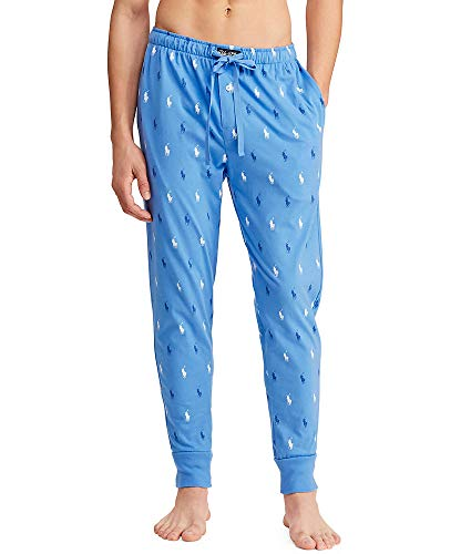 (Polo Ralph Lauren Men's All Over Pony Player Knit Jogger Harbour Island Blue/Bright Navy/White All Over Pony Print X-Large)