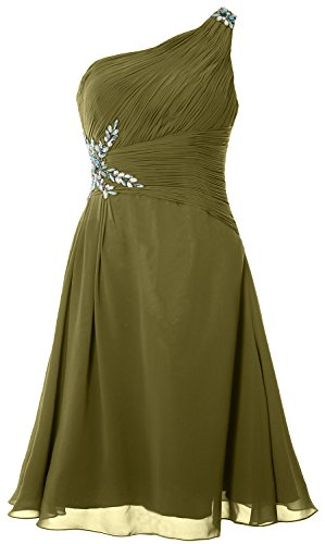 MACloth Women One Shoulder Cocktail Dress Short Wedding Party Formal Gown Verde Oliva