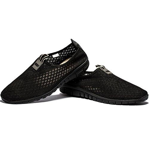 Men & Women Breathable Mesh Running Sport Tennis Outdoor Shoes,Beach Aqua,Athletic,Exercise,Slip Wave EU41 Allblack by KENSBUY (Image #7)